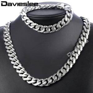 Image 1 - Daiveslee Matte Herren Halskette Armband Schmuck Set 316L Edelstahl Kette Silber Farbe Curb Cuban Link DHS42