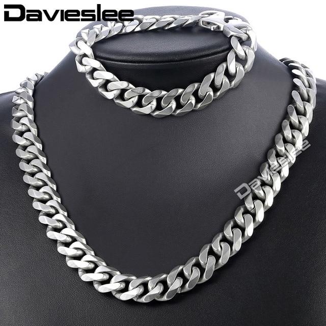 Daiveslee Matte Herren Halskette Armband Schmuck Set 316L Edelstahl Kette Silber Farbe Curb Cuban Link DHS42
