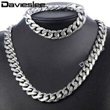 Daiveslee matowy mężczyzna naszyjnik bransoletka zestaw biżuterii stal nierdzewna 316L stalowy łańcuch kolor srebrny Curb kubański Link DHS42