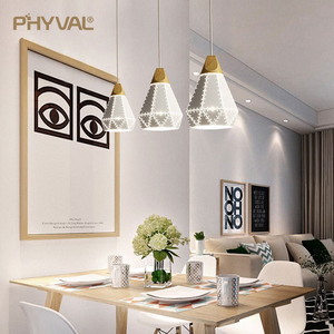 Image 2 - PHYVAL Pendant Light Modern E27 Macron Color Pendant Lamp Wood Iron Lampshade Cable 1.2m Pendant Lamp For Bedroom