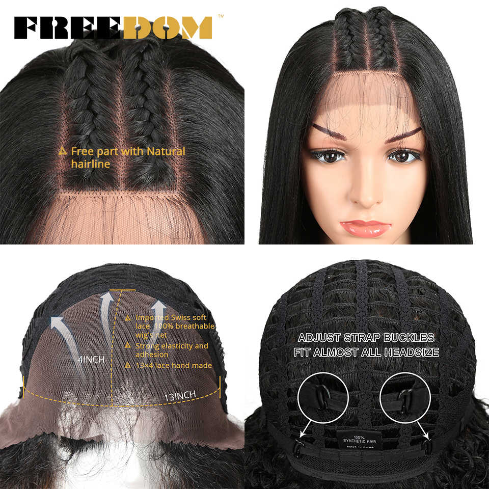 Vrijheid Synthetische Lace Front Pruiken Voor Zwarte Vrouwen Yaki Rechte Lange 26Inch Perruque Kant Pruik Baby Haar Hittebestendige fiber