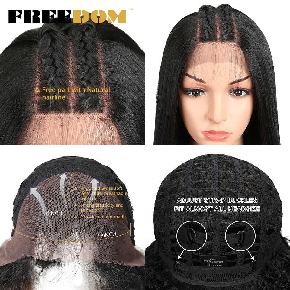 Özgürlük sentetik dantel ön peruk siyah kadınlar için Yaki düz uzun 26 inç 65cm Afro dantel peruk bebek saç ısıya dayanıklı iplik