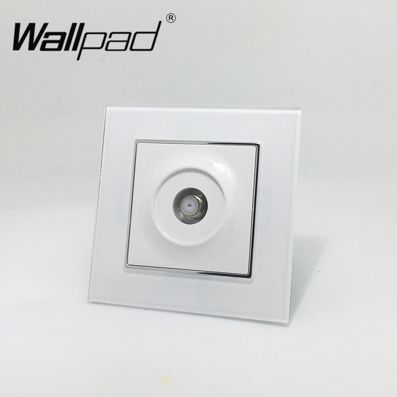 Satellite TV Socket Wallpad White Crystal Glass EU European Standard Satellite Television TV Port Jack Wall Socket with Claws diy atmega64 develop chip board set with avr downloader cable