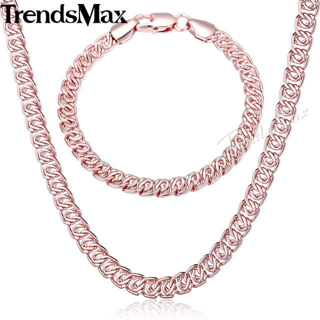 Trendsmax Womens Mens Rose Gold Jewelry Set Curb Snail Necklace