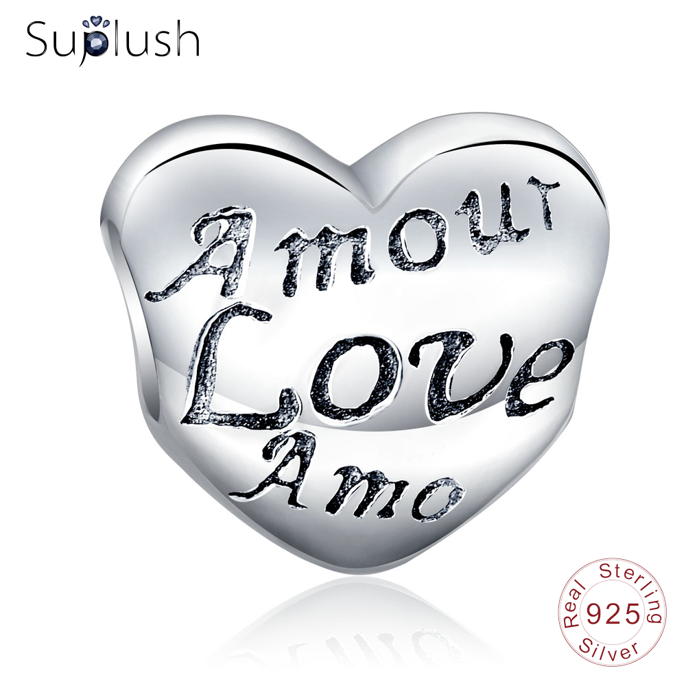 Suplush Pure 925 Sterling Silver Charms Romantic Love Charm Fit Original Charm Bracelet Women Party Jewelry PSMB0762