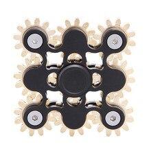ใหม่เกียร์เชื่อมโยงอยู่ไม่สุขปินเนอร์โลหะEDCมือปั่นเก้าฟันเชื่อมโยงนิ้วGyroความเครียดบรรเทาของเล่น