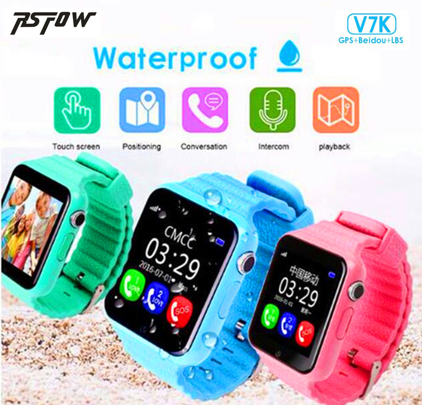 Children Security Anti-lost GPS Tracker Waterproof Smart Watch V7K 1.54 Screen With Camera Kid SOS Emergency For iPhone&Android espanson children security anti lost smart watch gps tracker with camera kid sos emergency for ios android waterproof baby watch