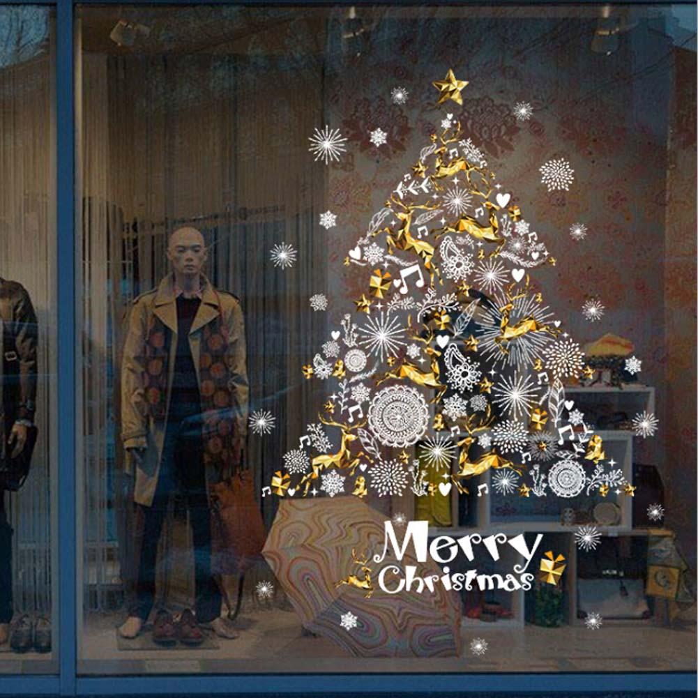 1 Pc 2017 Christmas Wall Stickers Deer Christmas Tree Shop Window Decoration Festival Home Decor 60*90cm