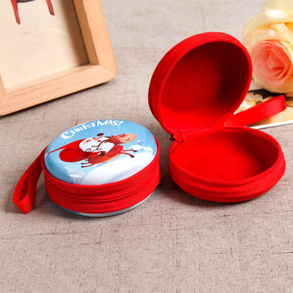 Christmas Series Gift Christmas Cute Cartoon Coin Purses Xmas Girls Key Case Wallet Children Mini Round Coin Holder Case
