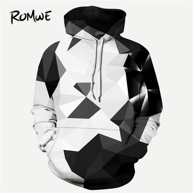 c217cefe61c1 ROMWE Men 3D Geometric Print Hooded Sweatshirt Mankind Autumn Rock Long  Sleeve Clothing Drawstring Multicolor Pullovers Hoodie