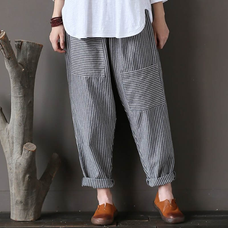 5XL Plus Size ZANZEA Women Striped Pants Elastic Waist Cotton Linen Pantalon Loose Long Harem Trousers Casual Baggy Streetwear