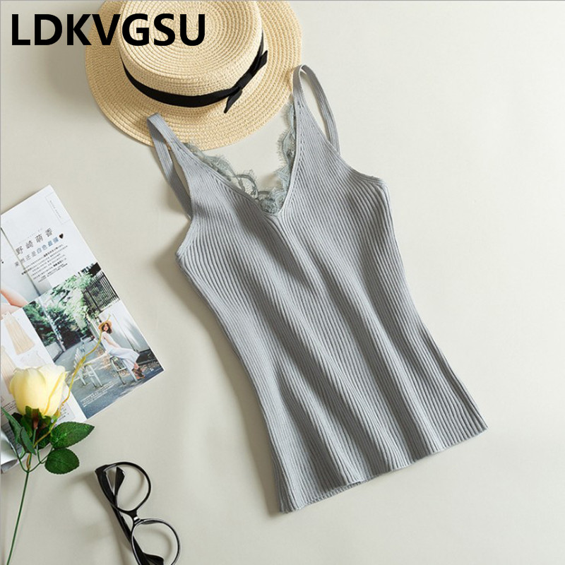 2018 New Spring Summer Sexy Women Camisole Lace Splicing V-neck Vest Female Slim Sling Tank Tops Knitted Vest 7 Colors Is243