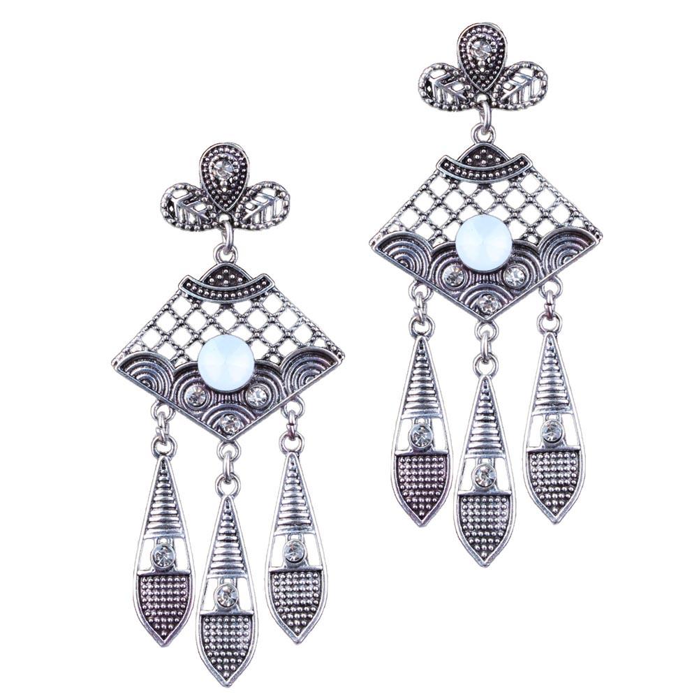 The Hot New Fashion Retro Earrings Alloy Hollow Earrings  Carved  Gem Tassel Drop