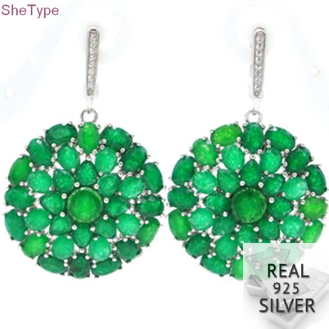 SheType 14.0g Big Heavy Real Green Emerald Natural White CZ Ladies 925 Solid Sterling Silver Earrings 46x30mm