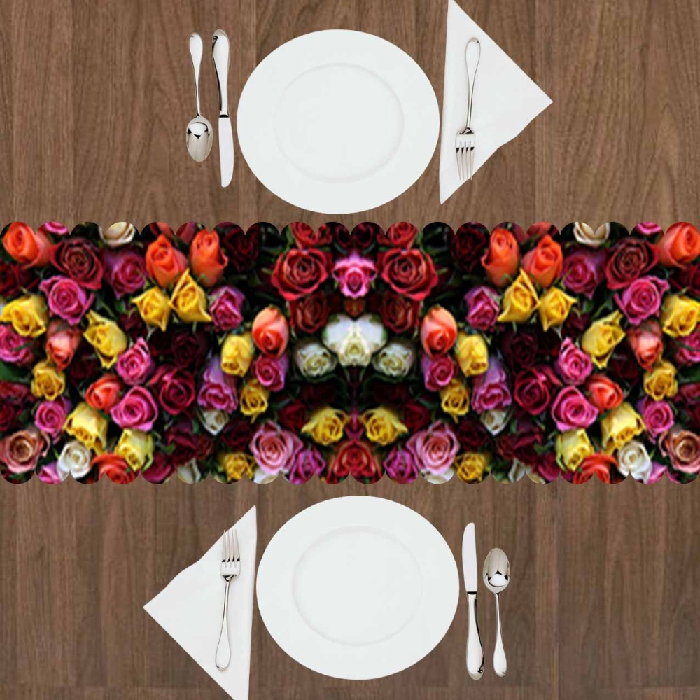 Else Yellow Orange Red Pink Mixed Roses Flowers Floral 3d Print Pattern Modern Table Runner  For Kitchen Dining Room Tablecloth