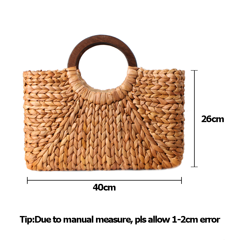 Women Vintage Rattan Handbag Female Bohemian Summer Beach Straw Bags Lady Simple Weave Bag Handmade Casual Large Tote SS3032 (14)