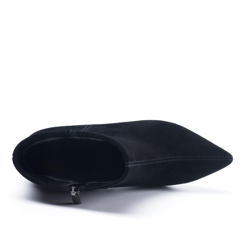 Cheville H198 Chaud Bottes Éclair Solide Univers Bout Femmes D'hiver En Black Noir Super Peluche Dames Suede Pointu Chaussures Haute Kid Fermeture Talons RtIxgE