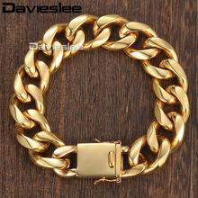 404e1c8fecbe Davieslee Miami Curb cubano pulsera de cadena para hombre personalizar Acero  inoxidable oro-color 13 18mm DHBM110