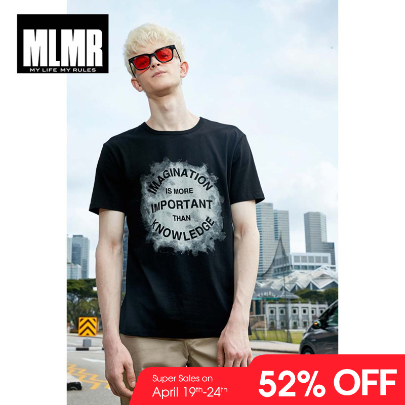 MLMR Men's Slim Fit Letter Printed   T  -  shirt   Crew Neck Tshirt Tee Top Men's Black&White   T     shirt   JackJones 2019 New Brand 219101530