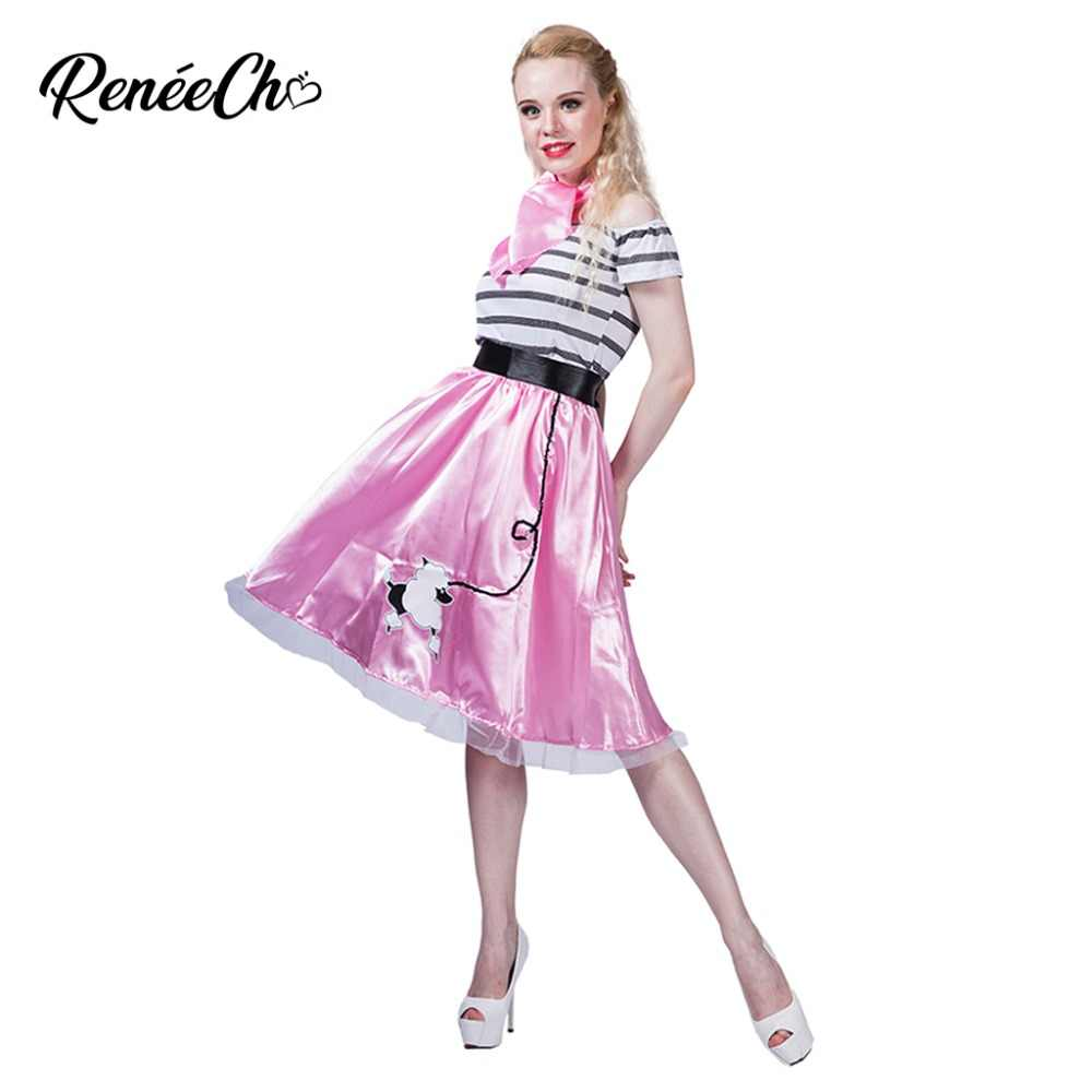 Reneecho Halloween Costume For Women 50`s Poodle Costume Cute Dog Print Off  The Shoulder 572029504ad6