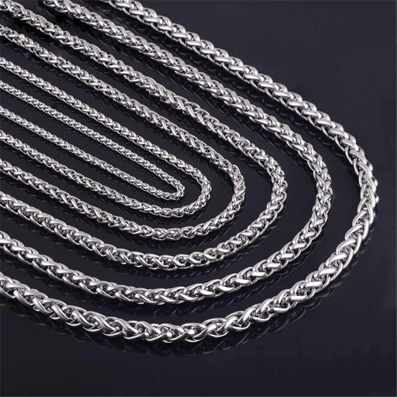 low price 3MM 4MM 5MM stainless steel keel chain necklace Fashion men's punk jewelry Titanium steel necklace Length 50-70CM