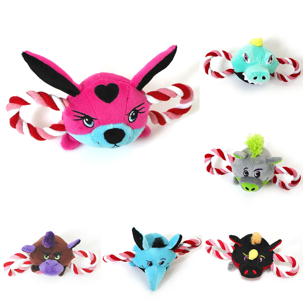 TINGHAO Cartoon Bird Fox Animal Head Shape Cat Puppy Dog Pet Plush Squeaky Rope Toys ...