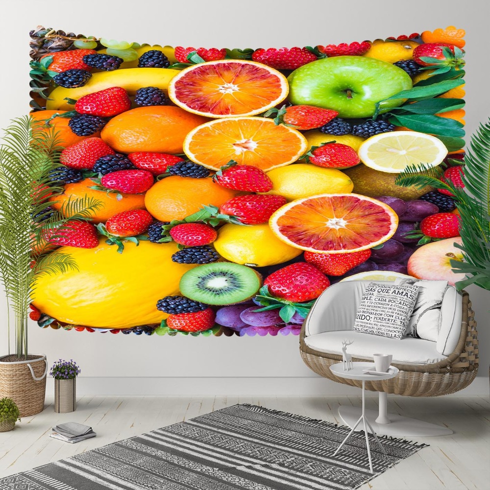 Else Red Strawberry Yellow Banana Kiwi Apple Fruits 3D Print Decorative Hippi Bohemian Wall Hanging Landscape Tapestry Wall Art