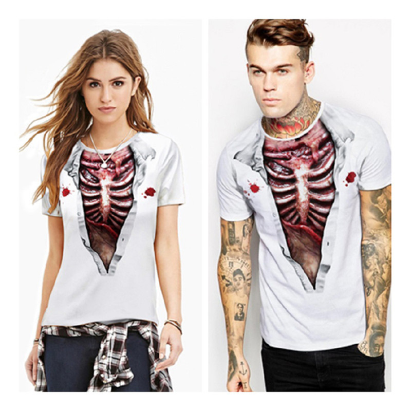 Thrilling Zombie Skeleton Print T Shirts for Women and Men Creepy Matching Halloween Costumes for Couples and Siblings S-2XL