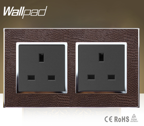 Hotel Smart Wallpad Double 13 Amp UK Socket Goats Brown Leather 146*86mm Electric 13A British Standard Wall Socket Free Shipping new men genuine wallet fashion casual pu credit id card holder purse wallet long business male clutch hot selling 2016