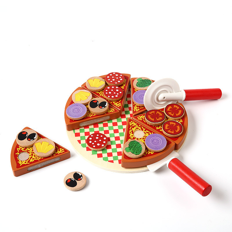 27pcs pizza wooden toys food cooking simulation tableware. Black Bedroom Furniture Sets. Home Design Ideas