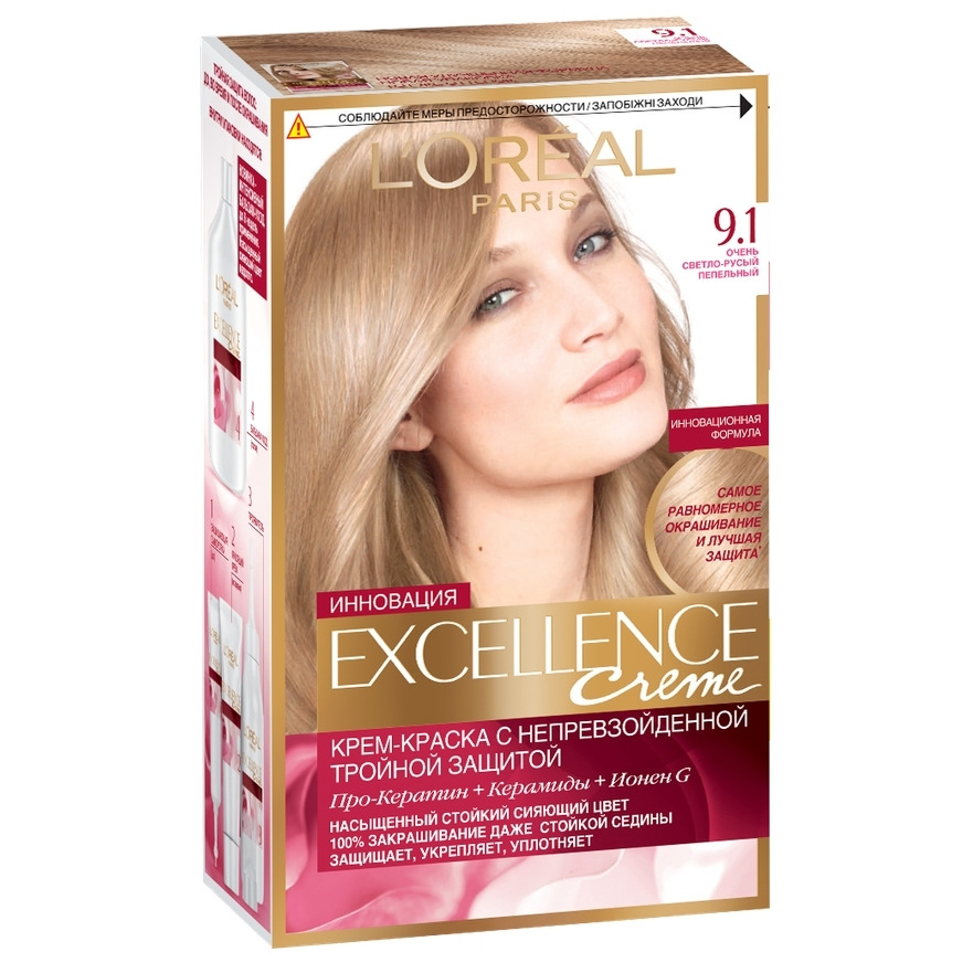 Loreal Excellence Hair Color Tone 91 Very Light Blonde Ash In Hair