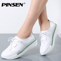 PINSEN 2017 Genuine Leather Autumn Women Flats Platform Shoes Pointed Toe White Shoes Thick Heel Sole Platform creepers