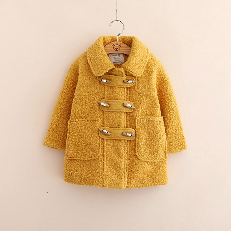 все цены на Candy Color jacket for Winter Quality Warm Elegant kids Coat Fall Overcoats Children's Clothing Girls Woolen Coat Warm Elegant