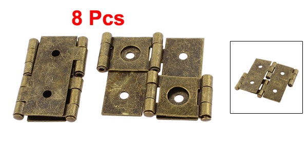 UXCELL 46Mmx54mm Retro Style Double Acting Folding Screen Hinge Bronze Tone 8Pcs