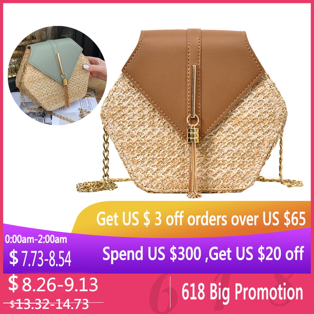 New Fashion Hexagon Mulit Style Straw+pu Bag Handbags Women Summer Rattan Bags Women Top-handle Summer Beach Boho Bag