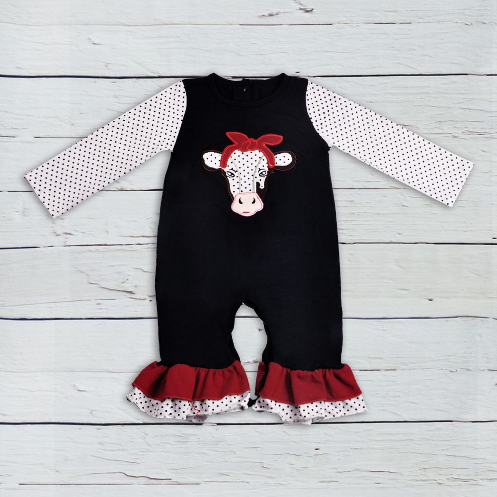 CONICE NINI Baby Boy Girl   Romper   Cool Clothes Cow Embroidery Black Polka Dot Cotton Newborn   Rompers   Baby Boutique Clothes