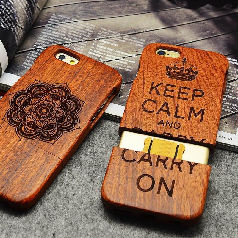 imágenes para YueTuo rosewood caso real genuino de lujo para el iphone de apple 6 s 6 s teléfono iphone6s 4.7 por la moda de madera tallado con láser cubierta