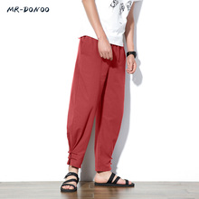 Chinese wind flax male loose thin cotton casual trousers retro plate feet pants summer Harlan