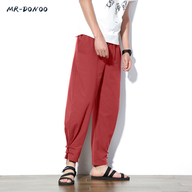 87ddfde220 MRDONOO Chinese wind flax male loose thin cotton casual trousers retro  plate feet pants male summer