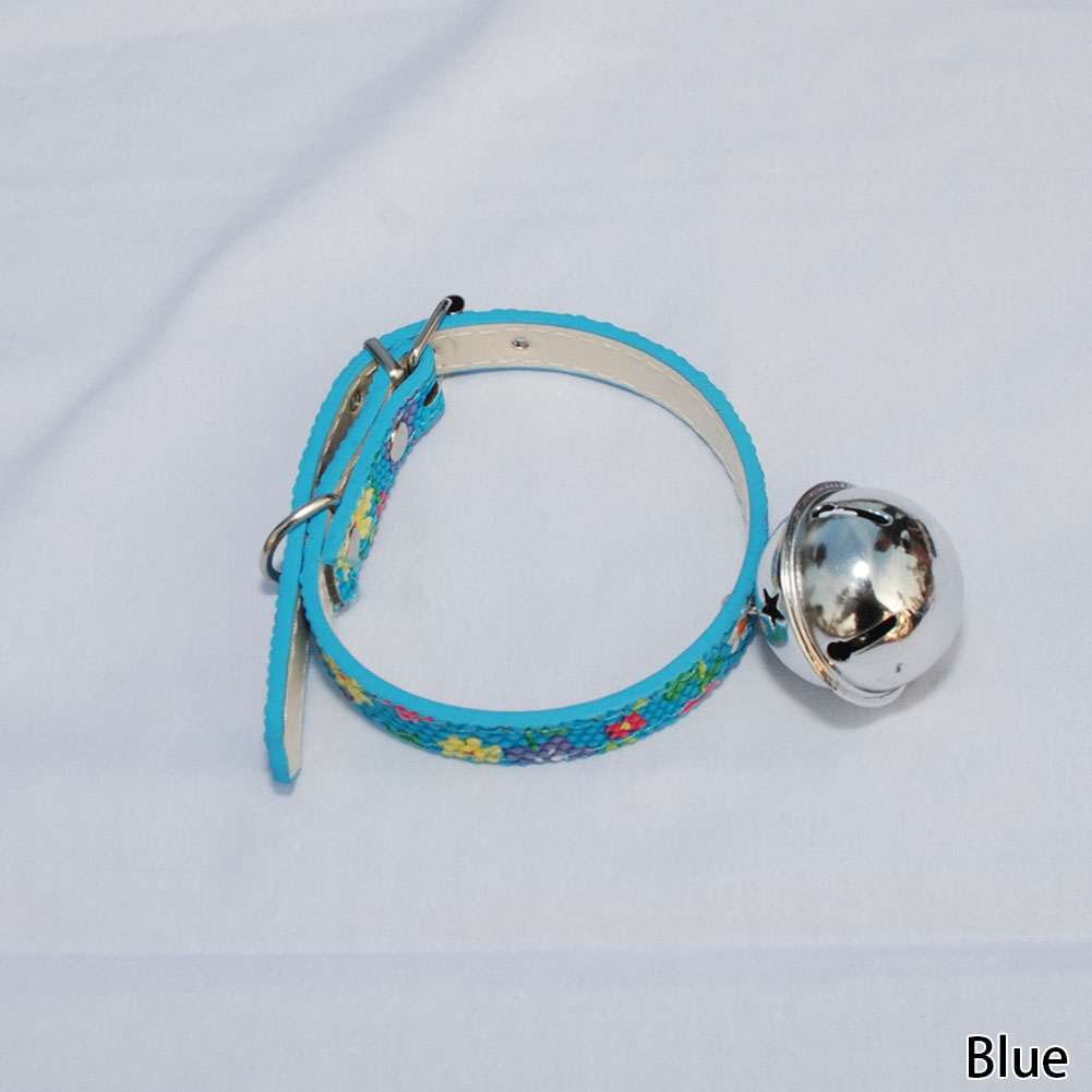 Sale 1Pc New Adjustable Dot Lovely Flower Little Dog Collars Cat Puppy Pets Supplies With Bell 4 Colors