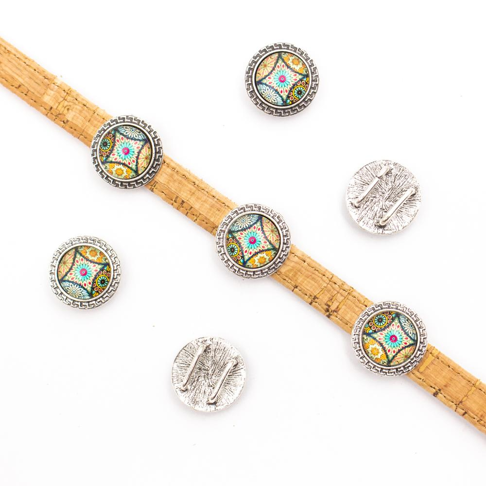 10units For 10mm flat cord slider with Portuguese tiles for bracelet finding(20mm) Round bracelet accessories D-1-10-212