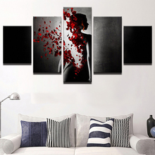 Home Decor Canvas Art 5 Pieces Painting Roses Woman Lady Petal Rains Poster HD Printed Wall Picture Modern