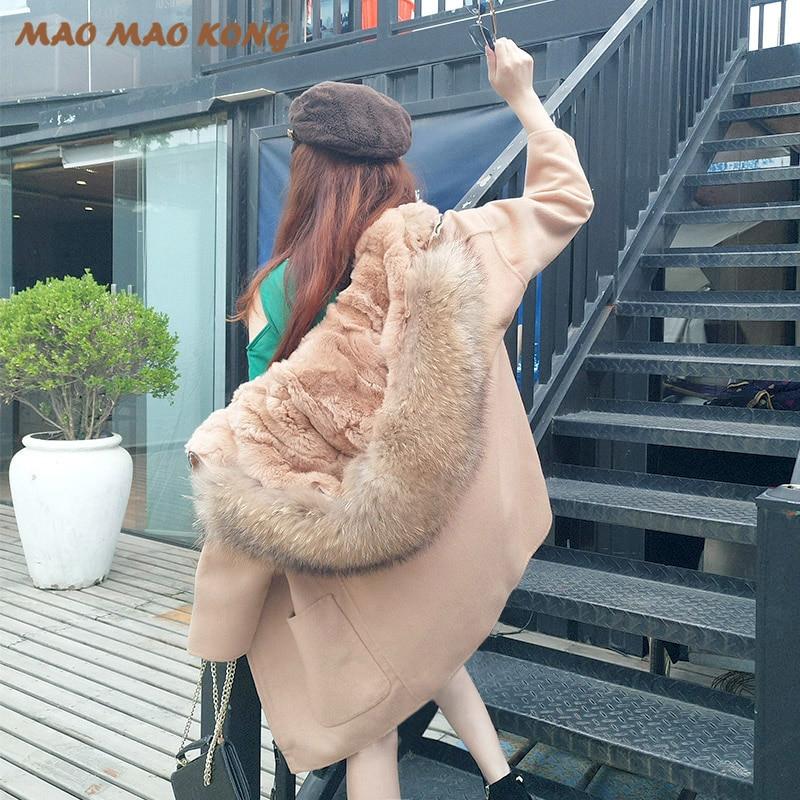 2018 nueva moda invierno Parka lana cachemir abrigo de piel para mujer abrigo cuello con capucha Rex piel de conejo forro de calidad superior - 2