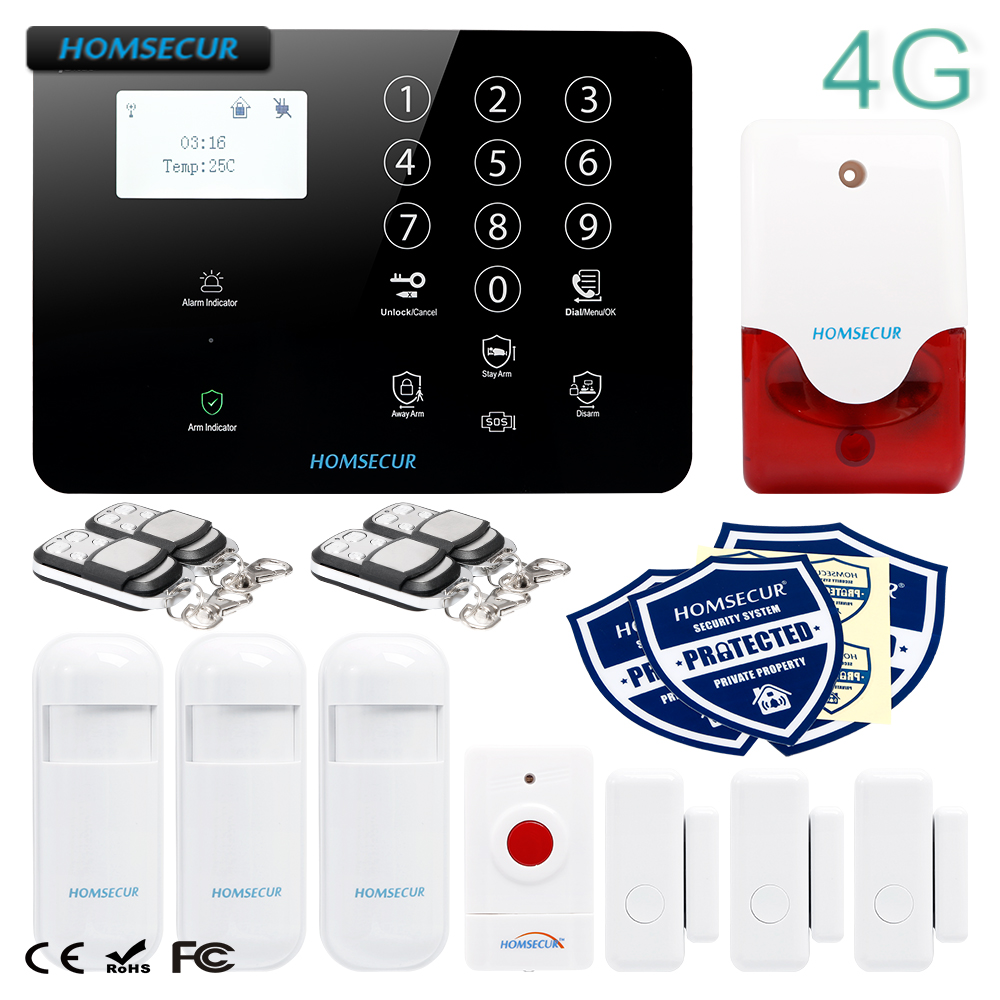 HOMSECUR Wireless&wired 4G/3G/GSM LCD Home House Alarm System with Panic Button homsecur wireless