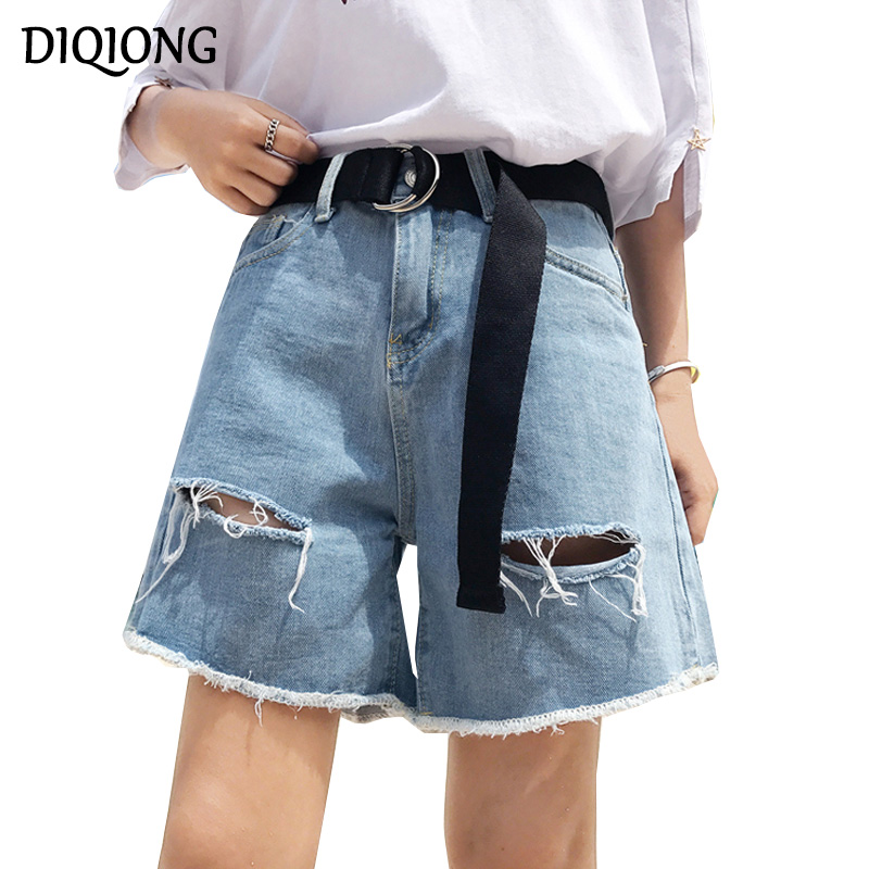 Diqiong Summer Female High Waist Denim Shorts Women Worn Loose Ripped Hole Jeans Shorts Blue Casual Denim Shorts High Quality summer women fashion high waist jeans shorts worn hole straight denim shorts solid blue curling edge poket casual shorts