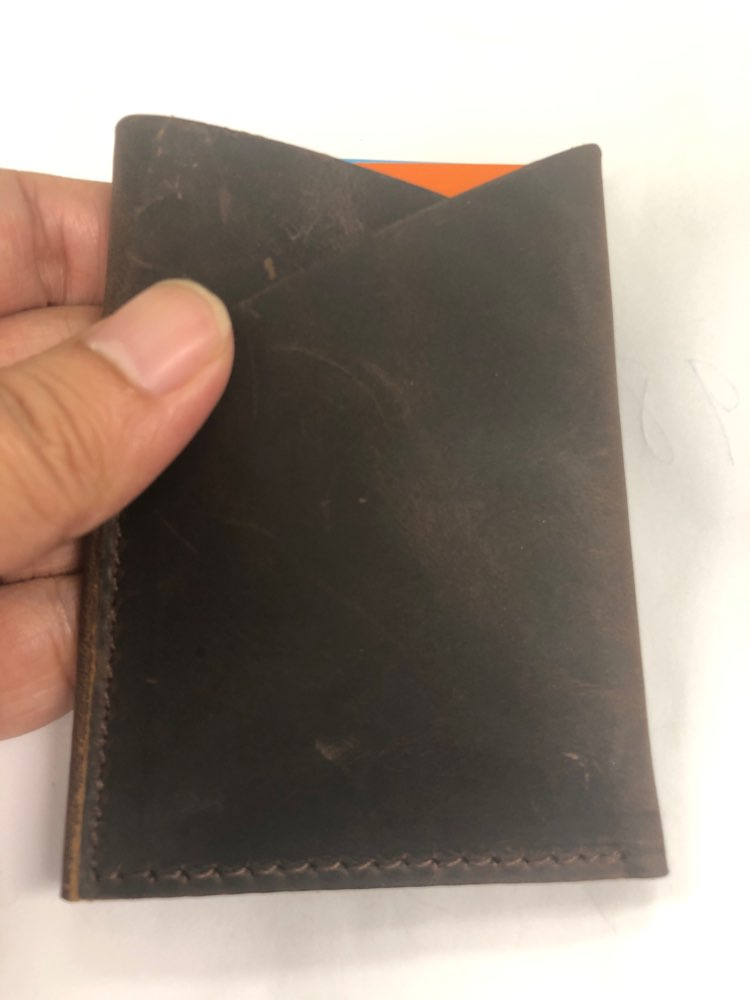 Moterm Handmade Credit Card Holder Genuine Crazy Horse Leather Mini Coin Purses Card holders Vintage design Free shipping photo review