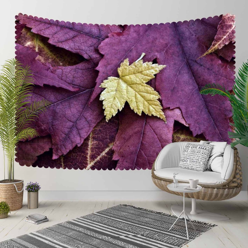 Else Purple Tree Leaves On Yellow Dried Leaf Floral 3D Print Decorative Hippi Bohemian Wall Hanging Landscape Tapestry Wall Art