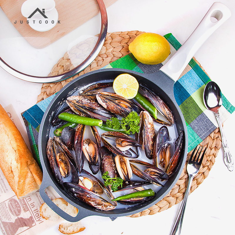 Deep Non Stick Frying Pan Skillet Thickening Pressure Casting Health Multifunctional Household Induction Cooker Omelet Pat