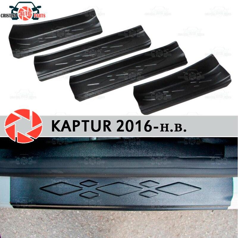 Soleiras da porta para renault kaptur 2016-plástico abs passo placa interior guarnição acessórios proteção scuff estilo do carro decoração