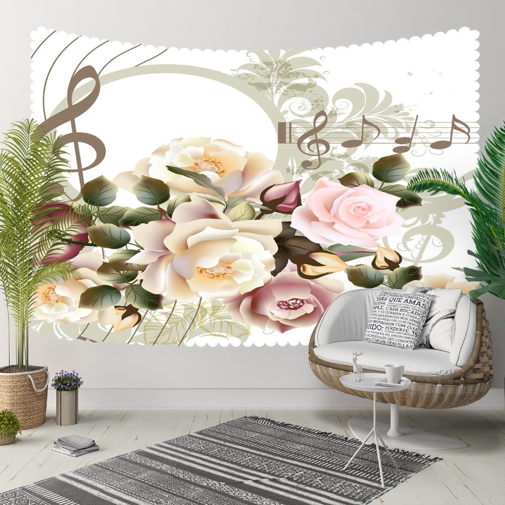 Else Pink Yellow Roses Gray Music Notes Treble Clef 3D Print Decorative Hippi Bohemian Wall Hanging Landscape Tapestry Wall Art